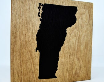 Vermont Wall Decor - 8x8 Decorative VT Map Wood Box Sign - Home State Pride Collection - Rustic VT Silhouette Gifts and Decorations