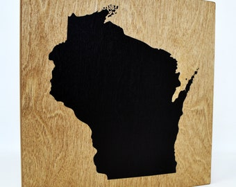 Wisconsin Wall Decor - 8x8 Decorative WI Map Wood Box Sign - Home State Pride Collection - Rustic Badger State Gifts and Decorations
