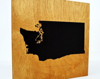 Washington Wall Decor - 8x8 Decorative WA Map Wood Box Sign - Home State Pride Collection - Rustic Washington State Gifts and Decorations