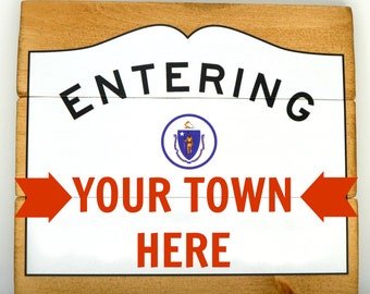 Custom Massachusetts Entering Sign Wall Hanging | Personalized Mass Wood Wall Art - MA City and Town Gift and Decor | Cranberry Collective