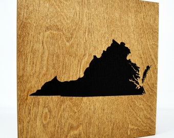 Virginia Wall Decor - 8x8 Decorative VA Map Wood Box Sign - Home State Pride Collection - Rustic Virginia Silhouette Gifts and Decorations