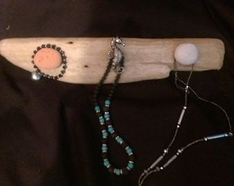 Handmade Unique Cornish Driftwood Jewellery Hanger With Seahorse