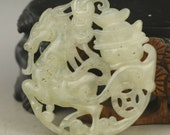 Jade Ma Shang You Qian Cut Out Horse Pendant Chinese Icy White Jadeite Amulet Artifact Figure Stunning Ancient Hand Carved Talisman Charm