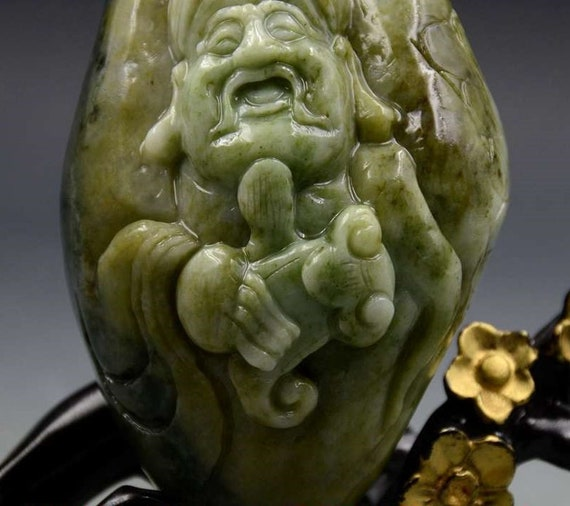 Antique Chinese Hand-carved jade STATUES Immortal