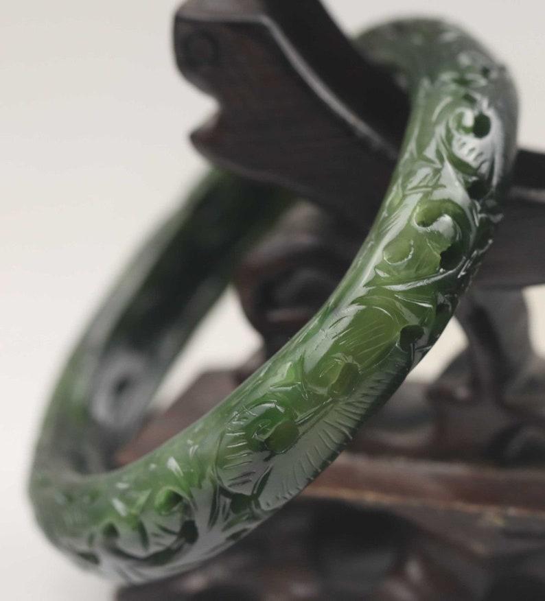 Chinese Glossy Natural Deep Black Green Jadeite Bracelet Stunning Jade Bangle Jade Bangle 56 mm Bracelet Carved Ruyi Design 20th C