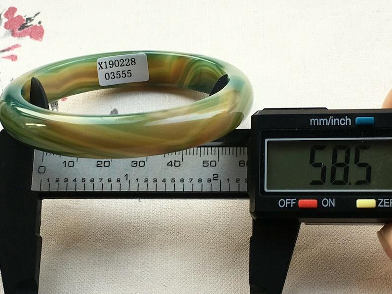 Jade Bangle 58.5 mm Bracelet Certified Documented Jadeite Stunning Natural Emerald Green 20th Century Chinese Carved Jade Bangle 555