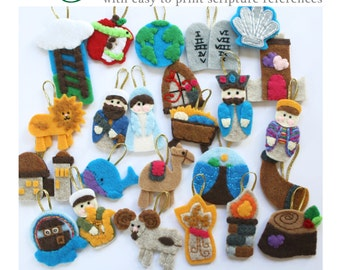 24 JESSE TREE Advent Ornaments PATTERN • 24 Ornaments with easy to print scripture references • Pattern •