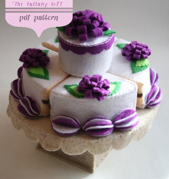 Felt Birthday Cake 2 Tier PDF PATTERN With Stand