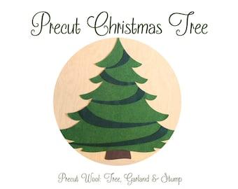 Pre Cut Christmas Tree: Tree, Garland & Stump • Quality Wool Felts