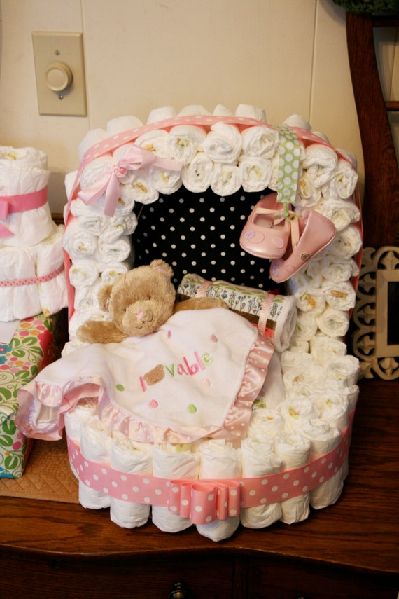 Diaper Bassinet Pattern Diaper Cake For A Baby Shower Etsy