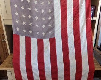 eb64c3517f6c Vintage 48 Star American Flag on Wooden Staff. Large 48 Star American Flag.