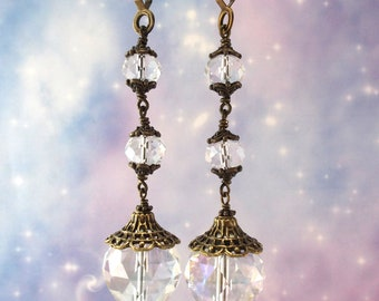 Crystal Ceiling Fan Pulls Blue Swirl and White Ball Chain Pull Country French Light Pull Lamp Pull Decorative Fan Pull Suncatcher