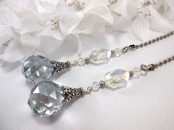 Fan Pull Chain Ornaments Unique Ceiling Fan Pull Chain Set Blue Gray And Clear Crystal Etsy