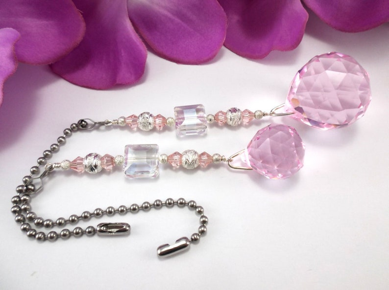 Lamp Pull Set of Two House Warming Gift Chain Pull Light Pull Home Decor Crystal Ceiling Fan Pulls 30mm and 20mm Pink Crystal Balls