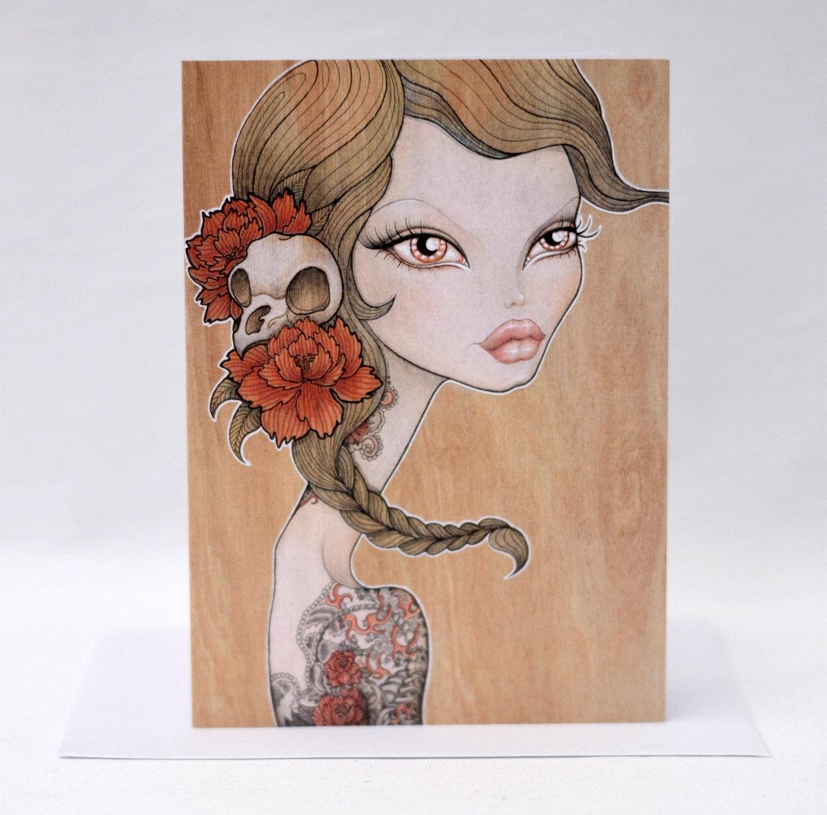 Giclee print of my original illustration beautiful tattooed woman portrait with peonies /'Rosamund/'
