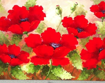 """POPPIES - Original Oil Painting - 24"""" X 36"""" Mounted"""