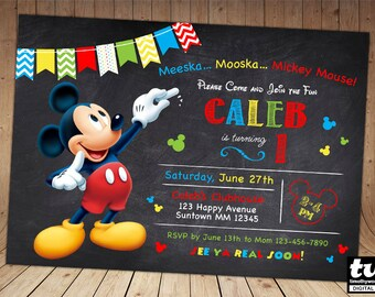 SALE - 60% OFF Mickey Invitation - Mickey Mouse Chalkboard Invitation - Mickey Invite