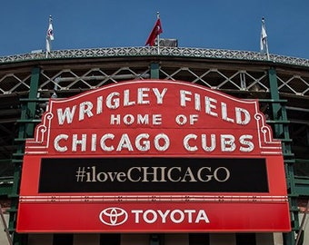 CUSTOM Art Print: Wrigley Field Chicago Illinois, front entrance, choose your custom wording to be placed on marquee