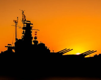 Art Print: USS Alabama, Photography Art Print USA, Historic American Battleship, Mobile AL Silhouette of uss Alabama near sunset, jc kirk