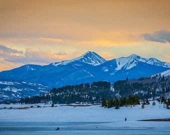 Fishermen Ice Fishing on Lake Granby in Colorado 2017, Rocky Mountains in background, Lake Granby, US-34, Colorado Fine Art Photography USA
