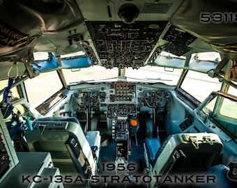 On Canvas: Military Photography, USAF, Cockpit view of a 1956 KC-135 Stratotanker Boeing 707 tail number 53118, Refueling Tanker McConnell