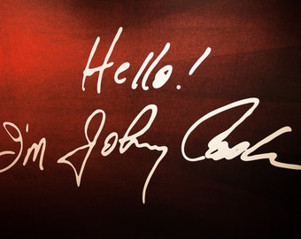 Hello! I'm Johnny Cash photo photography art print, handwriting signature on a red wall, man in black, Nashville, Fine Art Photography USA