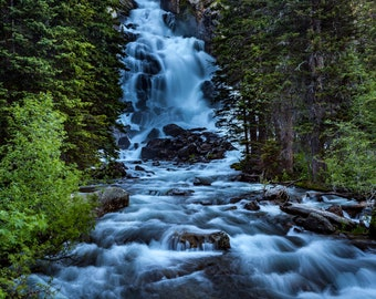 Grand Teton National Park Wyoming waterfall photo No1, Hidden Falls waterfall cascade near Jenny Lake in Grand Teton National Park Wyoming