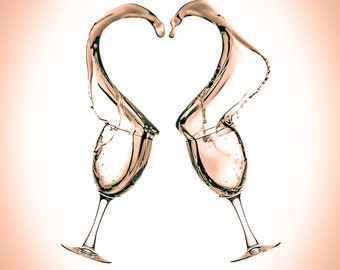 Wine Art Series - Wine Heart Love - two wine glasses collide spilling wine out into the shape of a heart,Turquoise, Mocha,or Black and White