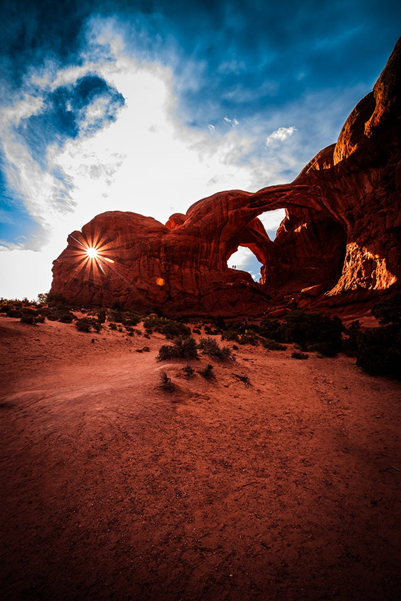 Art Print: Sunburst Double Arches in Arches National Park in image 0