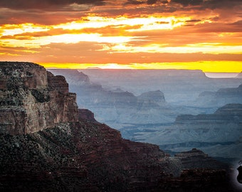 "Metal Art Print: Grand Canyon Photography 16""x24"", After Sunset into the Grand Canyon National Park (lower rim) Arizona,Grand Canyon,JC Kirk"
