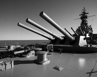 Art Print: USS Alabama, Photography Art Print USA, Historic American Battleship, Mobile AL, Canons in black and white, jc kirk