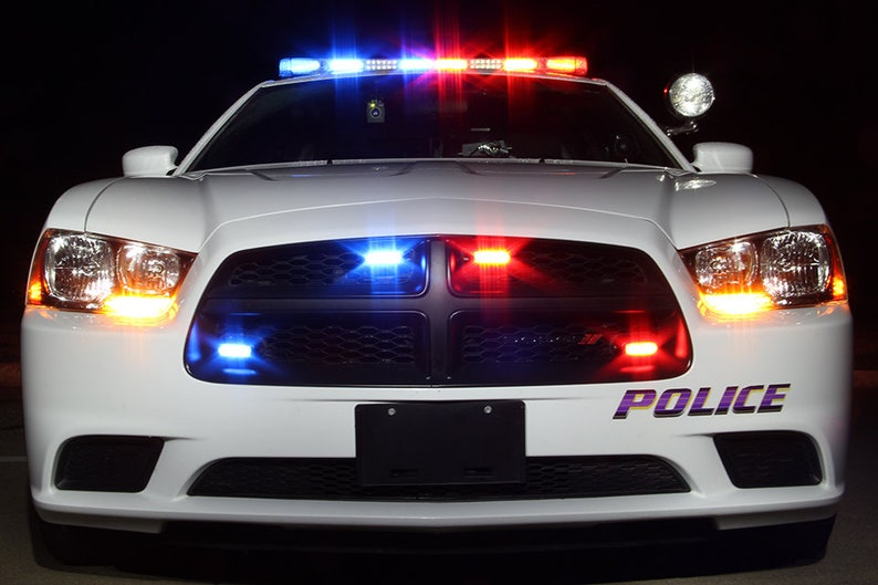 Police Car Photo: 2012 Police Dodge Charger front with red and blue led  lights at night, white Dodge Charger Police lights at night, police