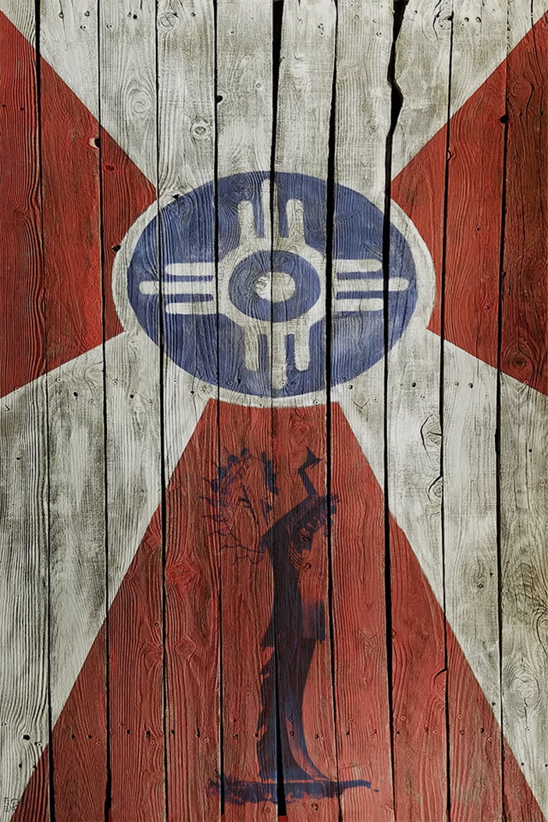 Wichita Flag on wood print with a silhouette of the Keeper of image 1