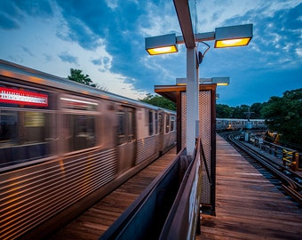 Art Print: Chicago L Train, Red Line, Sheridan Stop, July 2018, moving train in Chicago IL, Fine Art Photography USA, 2 of 3 images