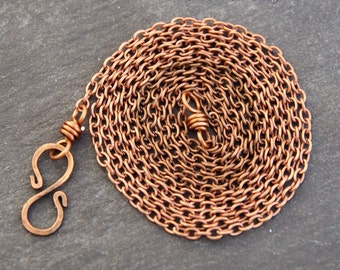 2mm Copper Necklace Chain - 16/18/20/22/24/30/36/40 Inches - Trace Chain - Copper Colour - Finished Chain - Solid Copper Findings