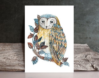 owl Watercolor Painting  PRINT - nature / bird / feather flora - Fine Art  drawing / home decor / gift idea Original  by Norvile