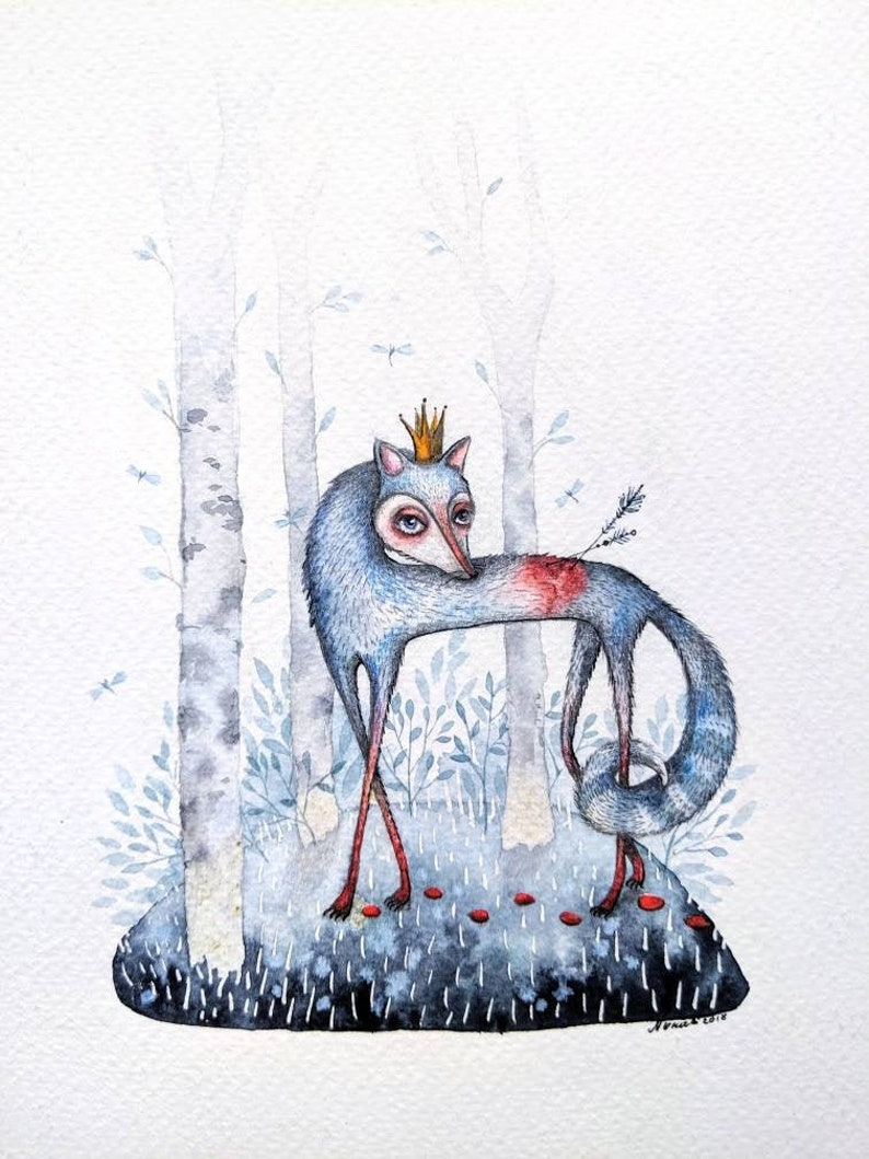 Fox  Original Art Illustration  forest nature  watercolor image 0