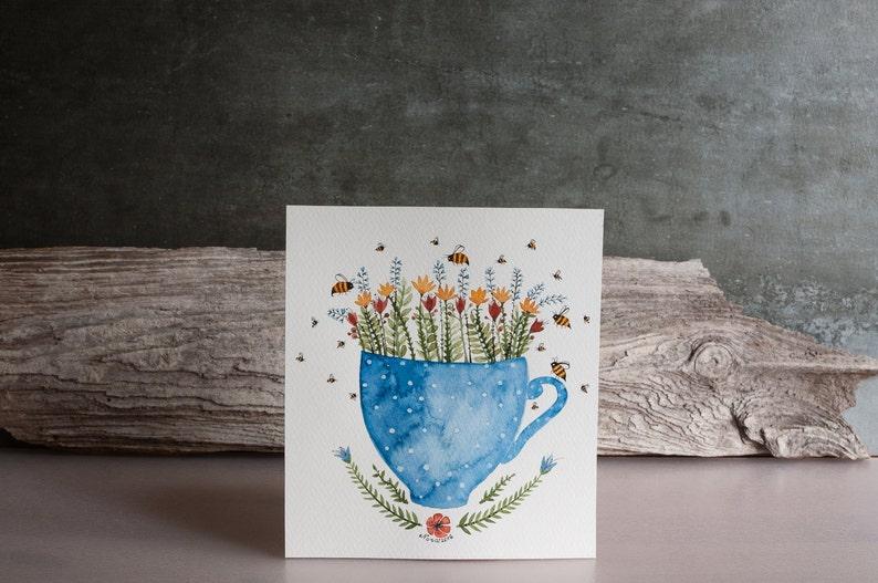 Cute nursery decor idea /  Tea cup / Flowers /  bees Original image 0