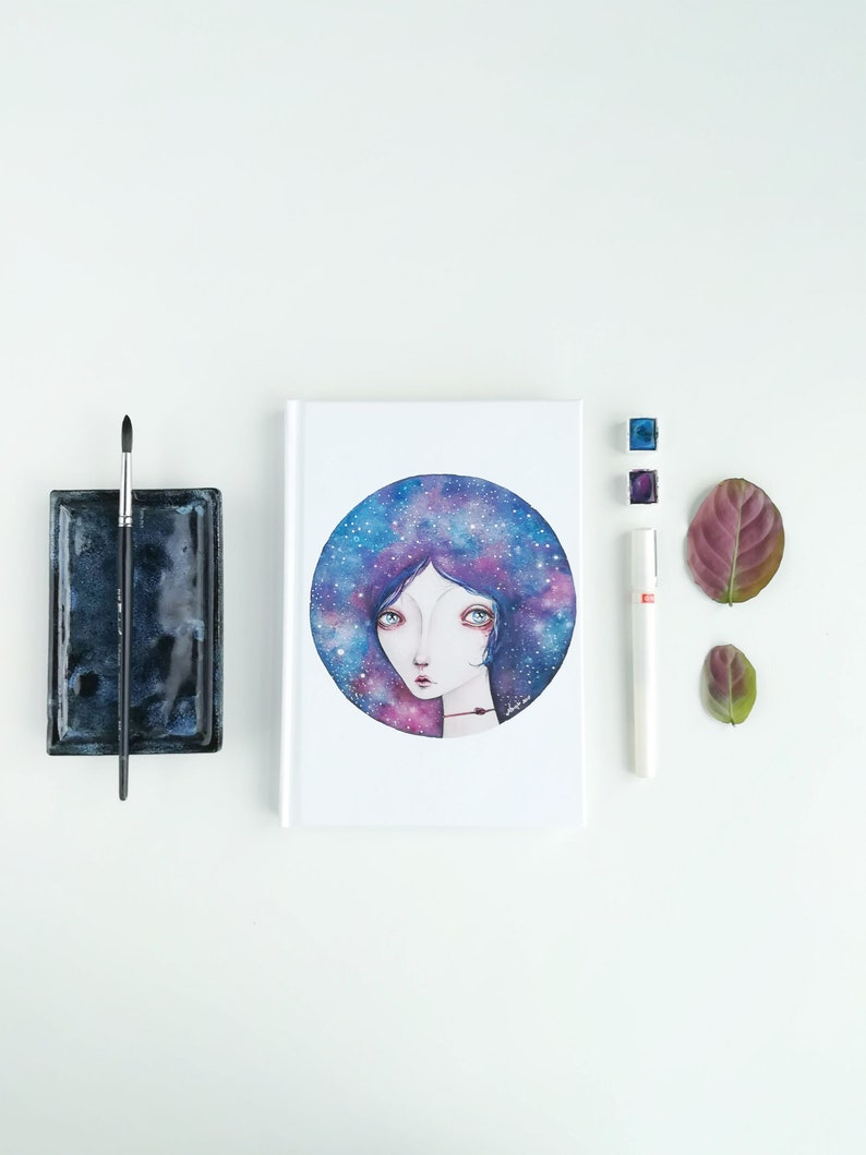 Cosmic Girl Portrait Notebook / constellation galaxy journal / image 0