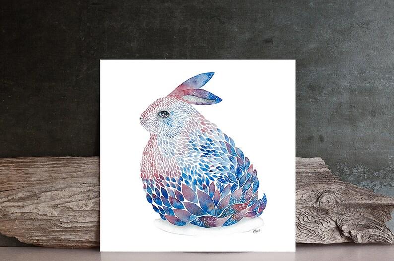 Blue / purple rabbit ORIGINAL Watercolor Art painting  hare / image 0