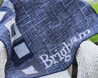 Modern Baby Quilt, Handmade Baby Quilt Custom Baby Quilt Luxury Baby Gift Modern Newborn Quilt Blue and Gray Nursery Personalized Baby Quilt