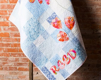 Modern Baby Quilt, Handmade Baby Quilt, Custom Baby Quilt, Luxury Baby Gift, Modern Newborn Quilt, Floral Nursery Personalized Baby Quilt,