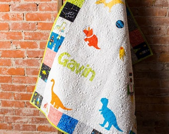 Modern Baby Quilt, Handmade Baby Quilt, Custom Baby Quilt, Luxury Baby Gift, Modern Newborn Quilt, Dinosaur Nursery Personalized Baby Quilt,