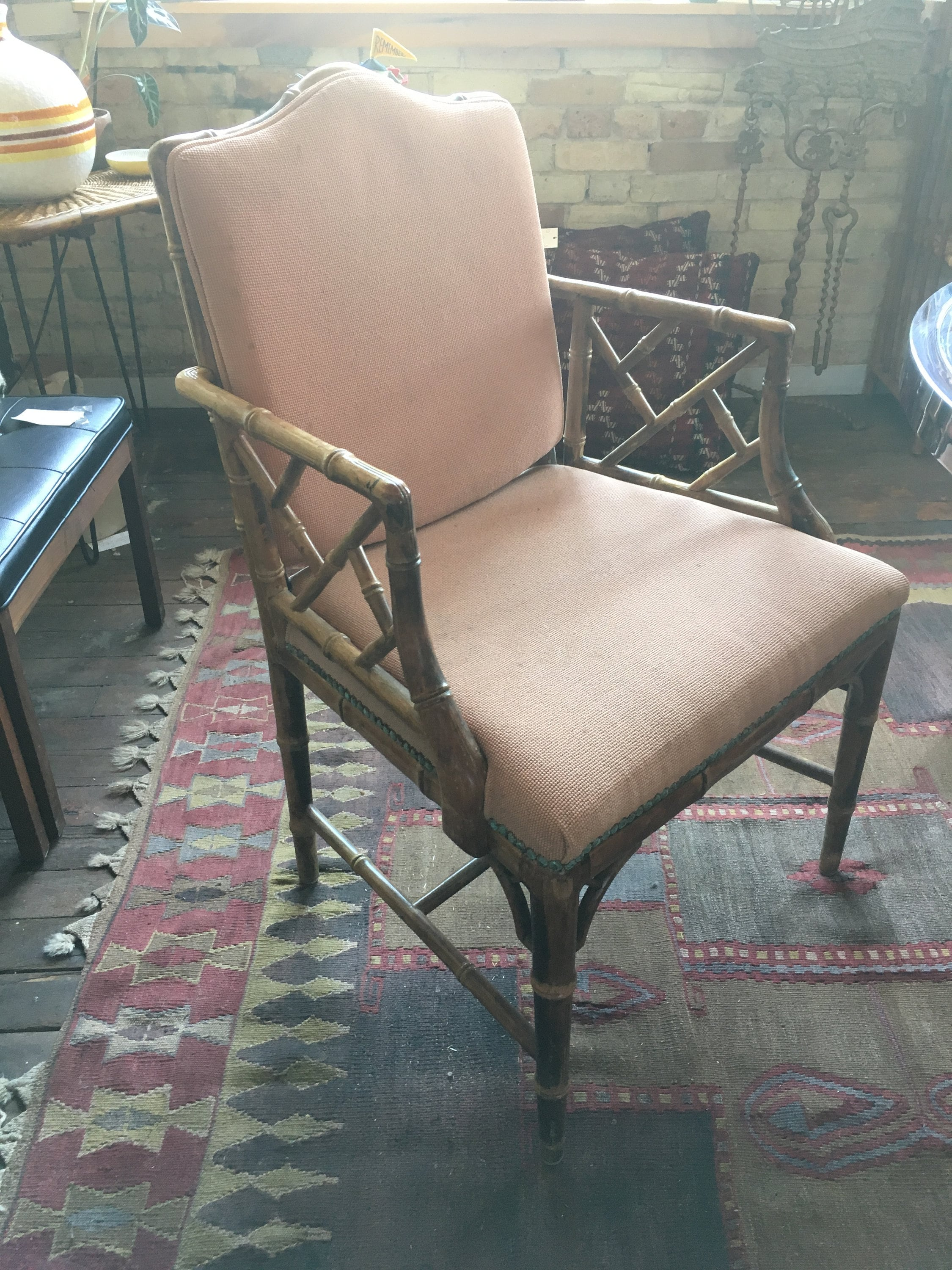 Vtg Mid Century Hollywood Regency Bamboo Chinese Chippendale Etsy