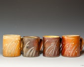 Salt glazed coffee/tea mugs with grass brushwork