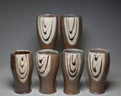 Salt Glazed Handmade Tumblers with slip decoration