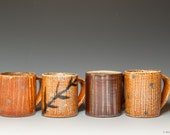 Salt glazed coffee/tea mugs with line and dot