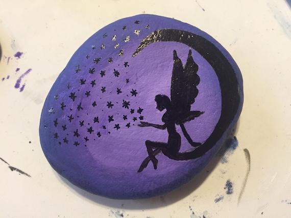 Fairy Angel Star Moon Painted Rock Etsy