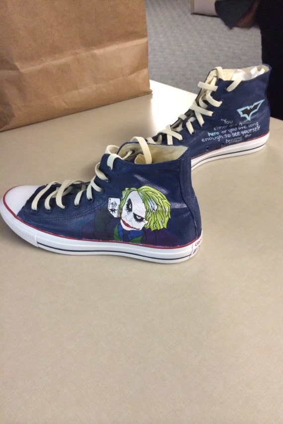 custom hand personalized painted batman and joker converse note