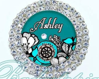 Teal and Blue Floral Retractable ID Badge Reel - Personalized Rhinestone Nurse Badge Holder, Ultimate Bling Badge Reel (E348)